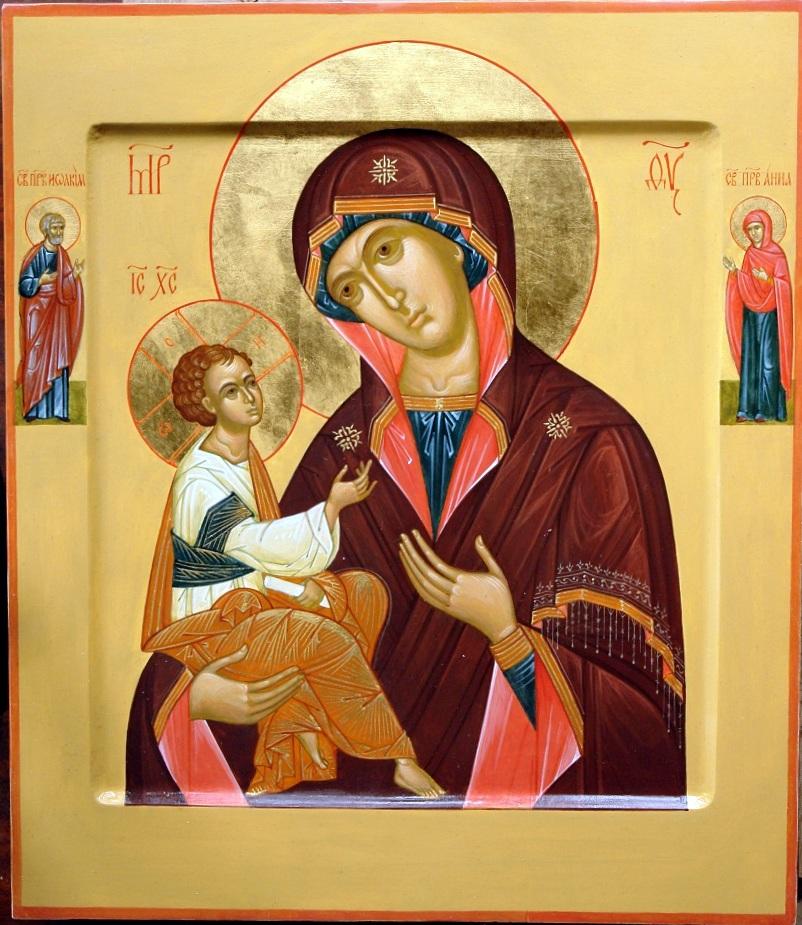 икона Богородицы Грузинская с предстоящими iconamaster.ru