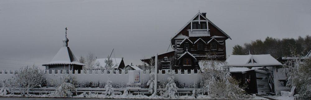 вид  иконописной мастерской с пятницкого шоссе зимой. Брехово
