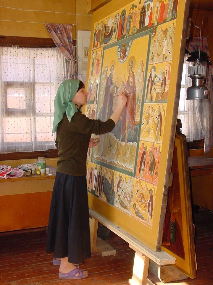 пишет большую икону Марию Египетскую в житии для Варлаамо Хутынского монастыря Великого Новгорода