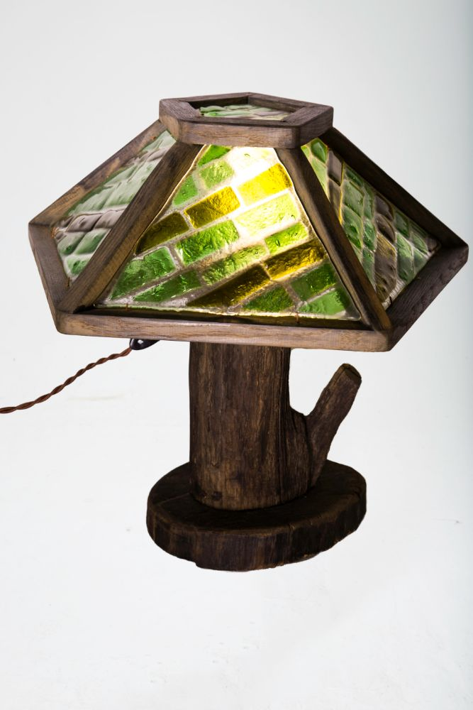 светильник, настольная лампа, №3, витраж фьюзинг, дуб