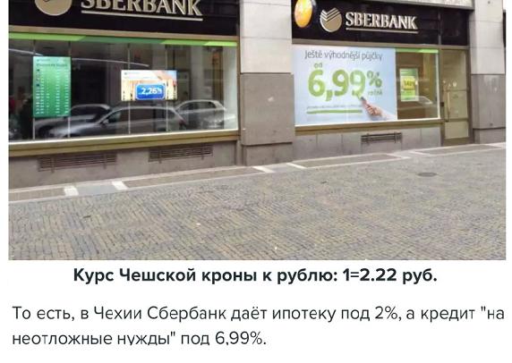 разница в ставках кредитов Сбербанка в Чехии и России